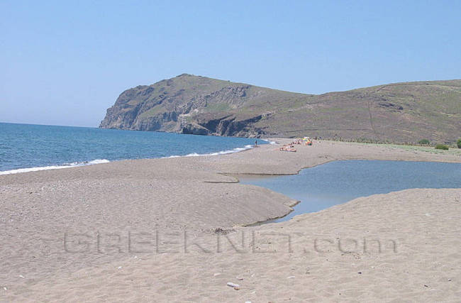 The long sandy beach of Skala Eresos in West Lesvos